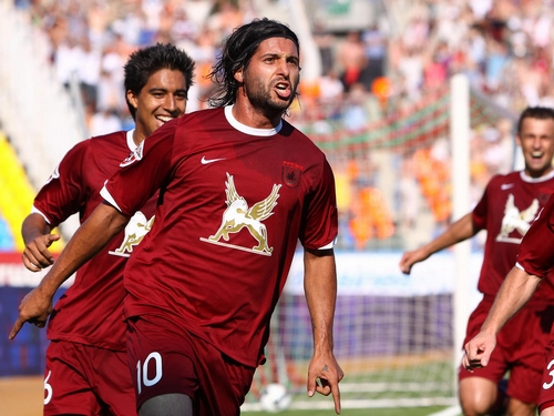 KAZAN, RUSSIA - JULY 18: Alejandro Dominguez of Rubin, Kazan celebrates after scoring a goal during the Russian Football League Championship match between Rubin Kazan and FC CSKA Moscow at the Central Stadium on July 18, 2009 in Kazan, Russia. (Photo by Roman Hasaev/Epsilon/Getty Images)