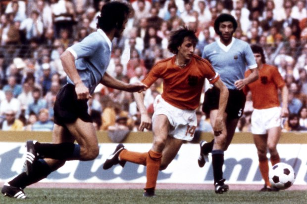 File photo dated 15-06-1974 of Johan Cruyff, Netherlands PRESS ASSOCIATION Photo. Issue date: Thursday March 24, 2016. Dutch great Johan Cruyff has died aged 68 after a battle with cancer. His death was announced on his website The World of Johan Cruyff. Dutch great Johan Cruyff has died aged 68 after a battle with cancer. His death was announced on his website The World of Johan Cruyff. See PA story SOCCER Cruyff. Photo credit should read PA/PA Wire.