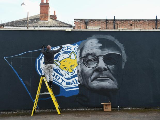 LEICESTER, ENGLAND - APRIL 29:  An image of Claudio Ranieri, manager of Leicester City is painted on a wall on April 29, 2016 in Leicester, England.  (Photo by Michael Regan/Getty Images)