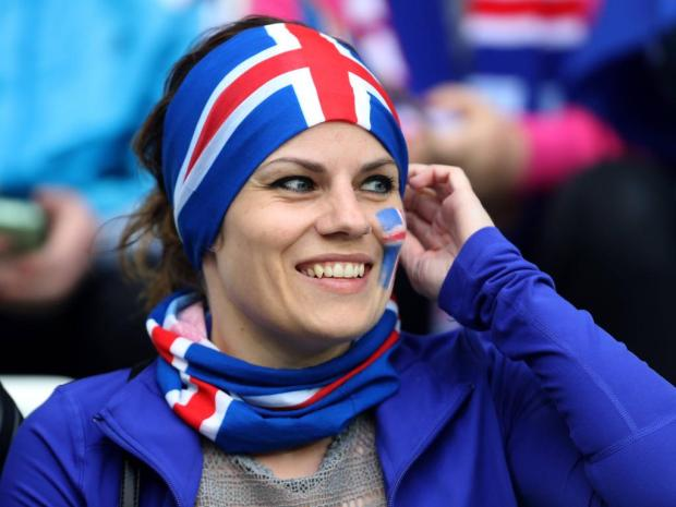 An Iceland fan waits for the match to start during the UEFA European Championship EM Europameistersc