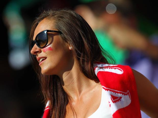 Fan of Poland looks into the sun during the EM EURO Natio9nalteam Länderspiel UEFA European Champion