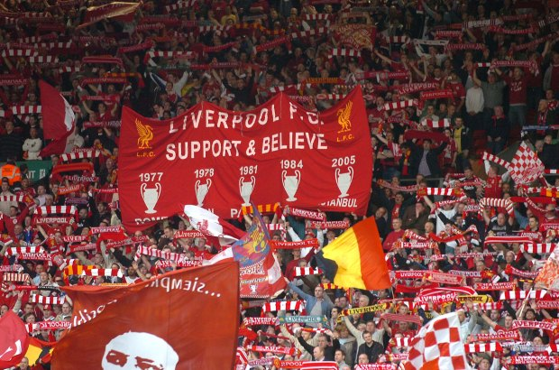 Pic Colin LaneLiverpool vs Chelsea Champions league..The Kop in full colour