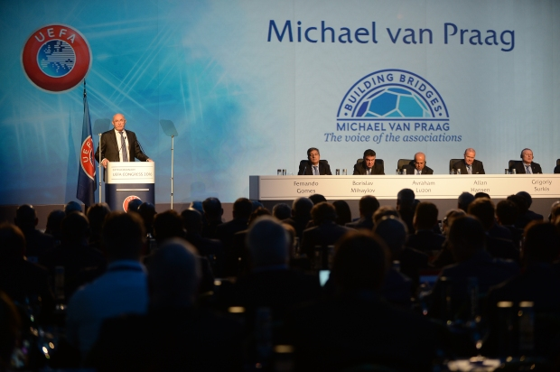 ATHENS, GREECE - SEPTEMBER 14: UEFA Presidential Candidate Michael van Praag speaking at the 12th Extraordinary UEFA Congress at the Grand Resort Lagonissi Hotel, on September 14, 2016 in Athens, Greece.  (Photo by Paul Murphy - UEFA/UEFA via Getty Images)